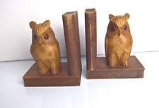 2 Buchstützen Eule Uhu aus Holz geschnitzt Vintage 50er