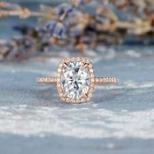 Wedding Ring 14K Rose Gold Over 6x8mm Solitaire Oval Moissanite Cushion Cut Halo