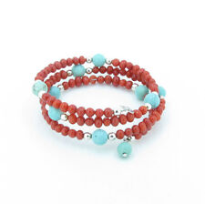 925 Sterling Silver Natural Campitos Bead Turquoise Coral Coil Bracelet