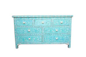 bone inlay chest of 7 drawers floral design in turquoise color insurance home de