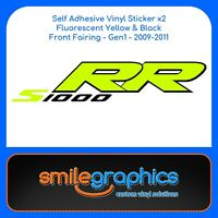 BMW S1000RR Fairing Decals Black Fluorescent Yellow Stickers Gen1
