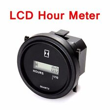 "12v 24v 36v Digital Display LCD Hour Meter For Marine Boat Engine 2"" Round Gauge"