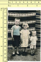 033 1930's Three Kids, Boys & Girl, Ethnic Rug Tinted vintage photo old original