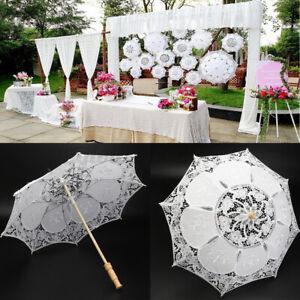 Vintage Women Handmade Cotton Lace Parasol Umbrella Wedding Party Decor AU