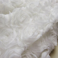 "3D Chiffon Rosette Bridal Lace Fabric IVORY  51"" Wide for Wedding Dress 1/2 Yard"