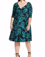 IGIGI Stretch Jersey Alex Fit And Flare Dress In Paisley Emerald Size 18/20