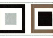 Tile Square & Silver Trim Wallpaper Border Geometric Retro Kitchen Wall Decor