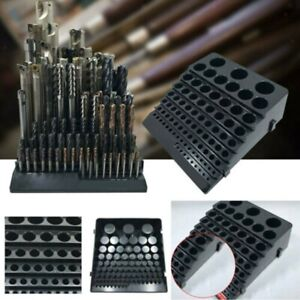 85-Hole Storage Holder Drill Bit Collet Tool Box Rack Organizer Stand Container