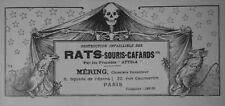 PUBLICITÉ DE PRESSE 1907 MÉRING DESTRUCTION INFAILLIBLE DES RATS SOURIS CAFARDS