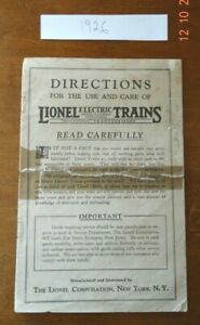 Original 1926 LIONEL Directions For The Use And Care of LIONEL ELECTRIC TRAINS