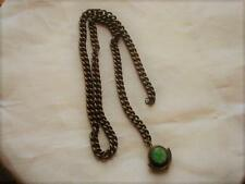 Heavy Antique Watch Chain With Mottled Green Glass Fob As Found