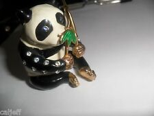 RARE HEAVY PEWTER BEJEWELED PANDA BEAR JEWELRY RING EARING TRINKET BOX 18 STONES