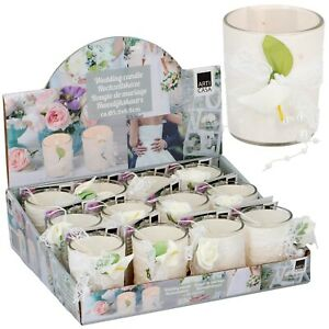 12 Wedding Candles In Glass Fragrant Table Centrepiece Flower Decor Roses & Lily