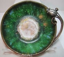 Antique NEKRASSOFF Copper and Enamel Tray Beautiful Flower Side Handle old dish