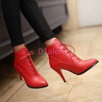 Women Sexy Stiletto High Heel Lace Up Pointy Toe Ankle Boots Fashion Shoes New