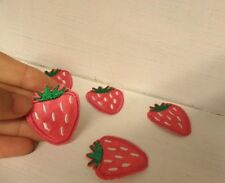 10 strawberry patches embroidered patch applique iron on sew motif hot fix badge