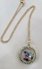LIVING MEMORY GOLD BLUE CRYSTAL ROUND LOCKET & CHAIN BUTTERFLY FLOATING CHARM