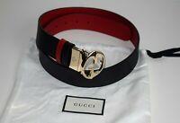 GUCCI Damen Original Gürtel REVERSIBLE Belt Leder schwarz - rot Größe 110
