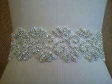 Clear Rhinestone Wedding Bridal Dress Applique Trim Craft = DIY! = 17 INCH LONG
