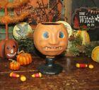 Primitive Antique Vtg Style Halloween Paper Mache Jack O Lantern Pumpkin Goblet