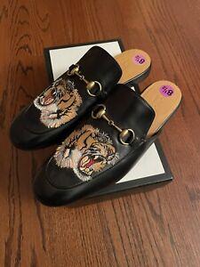 New GUCCI Princetown Black Kings Tiger HorseBit Accent Slippers Sz Men's 8 1/2