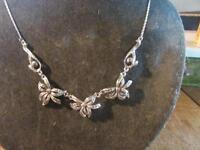 Lovely Vintage,1950s, Silver & Marcasite Floral Panel Necklace,Signed BJL