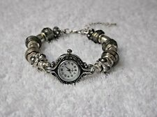 HANDMADE UNIQUE SILVER GREY European Charm Bracelet Watch SAMDORA + Rhinestones