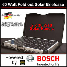 60 Watt Solar Briefcase folding panels with case and folding stand & controller