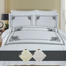 Luxury Athena 100% Combed Cotton Embroidered Duvet Cover Set with Pillow Shams