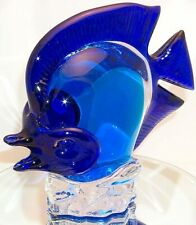 Fish Large Tang Blue body on Clear Base with Black Fins handmade artglass