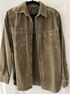 Woolrich Corduroy Shirt Jacket - Faded Brown Retro 90's-Style - size M