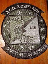 U.S.ARMY AVIATION PATCH, A CO.2ND BN 227TH AVN RGT, VULTURE AVIATION