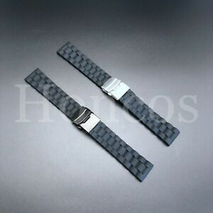 20 22 24 MM Silicone Rubber Watch Band Strap Deployment Clasp Buckle Vintage New