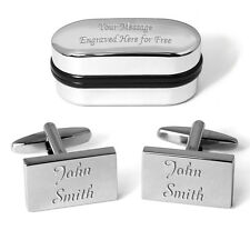 Your Name Cufflinks Engraved Gift Box Personalised Birthday Christmas Present