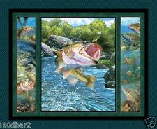Stillwater Bass fabric panel Wild Wings FISH fabric quilt top wall hanging BTP