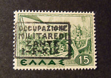 """ITALIA,ITALY Occupazione Militare 1941 ZANTE """" Mitologica OVP"""" 15d verde MH* ."""
