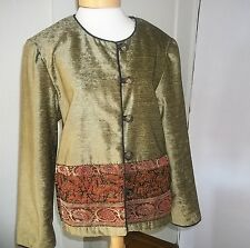 Coldwater Creek Velvet Jacket Moss Green with Embellished Beaded Panel Sz L EUC
