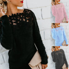 Women Long Sleeve Lace Sweater Tops Loose Casual Ladies Sexy Jumper Pullover
