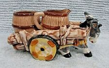 Old hand painted Japan Victoria ceramics pottery Donkey Cart Cream Sugar FREE SH