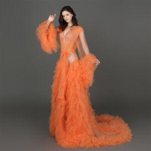 Sleepwear Tulle Feather Ruffle Maternity Robe Photography Women's Wedding Party
