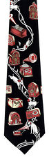New Masters Voice Mens Necktie Gramophone Dog Radio Record Music Black Neck Tie