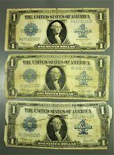 "Lot: Three Series 1923 $1 ""Horseblanket"" Silver Certificates"