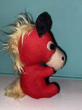 Vtg 40-50's Donkey SMALL Carnival Prize Red Velvet Felt stuffed Animal Toy