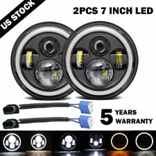 For Suzuki Samurai SJ410 LED Headlights DRL Halo Hi/Lo Beam Headlamp 75W A Pair