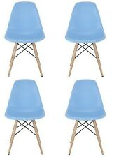 Eames Style DSW  Light Blue Plastic Shell Chair with Wood Eiffel Legs (Set of 4)