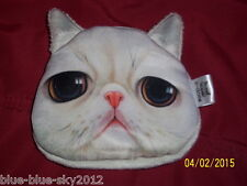 White SAD CAT, Kitten Cute COIN PURSE, Floral Lined Novelty Bag Wallet, UK Sale
