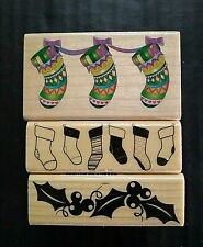 Rubber Stamps Christmas Xmas Stockings Holly Berries Leaves Border Holiday Lot