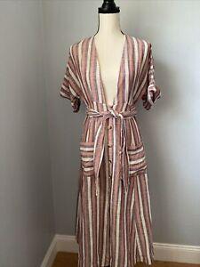 NWT Free People Monday Midi Striped Linen Dress Plum Size XS