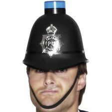 Police Fancy Dress Hat Bobbie Helmet with Flashing Light Cop Hat New by Smiffys
