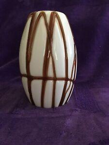 """7 1/2"""" White Glass Brown Ribbon  Swirl Pendant Light Shade Globe 2 1/2"""" Fitter"""